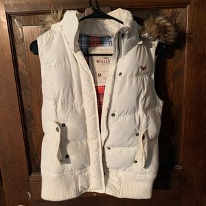 Super cute puffer vest with furry hood!